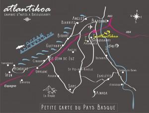 Carte du Pays Basque de la chambre d'hôtes Atlantikoa