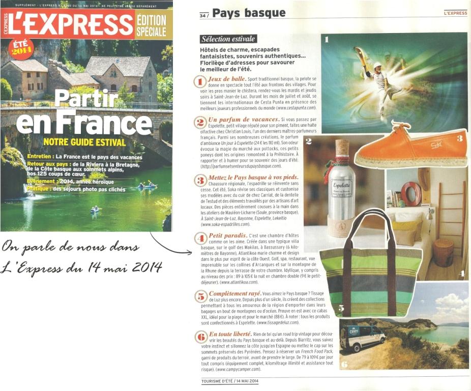 Article-L'Express-mai-2014 Atlantikoa Chambre d'hôtes Pays Basque